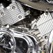 Closeup of a big chromium motorcycle engine - Stock Photo