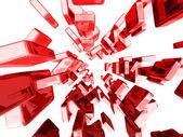 Cubos rojos 3d con efectos de luz brillantes — Foto de Stock