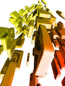 3d ingots with glossy light effects, gold bars — Stock Photo