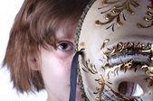 Vestindo máscara de venicean menina — Foto Stock