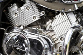 Closeup of a big chromium motorcycle engine — Stock Photo