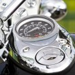 Closeup of a big chromium motorcycle engine — Stock Photo #8780144