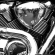 Side view of a custom motorcycle engine — Stock Photo