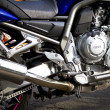 Stock Photo: Motorbikes chromed engine. Bikes in street