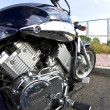 Motorbikes chromed engine. Bikes in a street - Stock Photo