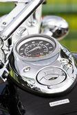Closeup of a big chromium motorcycle engine — Stock Photo
