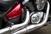 Vista lateral de um motor de moto personalizada — Foto Stock