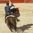 Bullfight on horseback. Typical Spanish bullfight. — Stockfoto