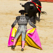 Matador and bull in bullfight. Madrid, Spain. — Stok fotoğraf