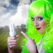 Royalty-Free Stock Photo: Recicling green fairy girl