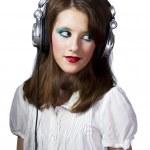 Young girl with earphones — Stock Photo