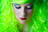 Green fairy girl head down — Стоковое фото
