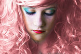 Pink haired fairy girl — Photo