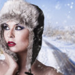 Winter woman with snow — Stock Photo #9477430