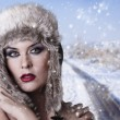 Winter woman on snow — Stock Photo #9477432