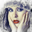 Close-up portrait of young woman with snow look — Stock Photo #9477437