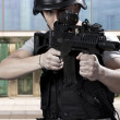 Stock Photo: Black armed policemen