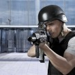 Person, defense of building, protecting a business complex - Stock Photo