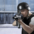 Foto Stock: Person, defense of building, protecting business complex