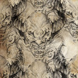 Tattoo pattern with demon designs over antique paper — Foto Stock