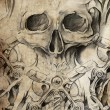 Stock Photo: Tattoo design with skull on vintage paper