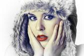 Close-up portrait junge frau mit schnee-look — Stockfoto