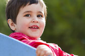 Cute little european baby boy playing at park — Stock Photo