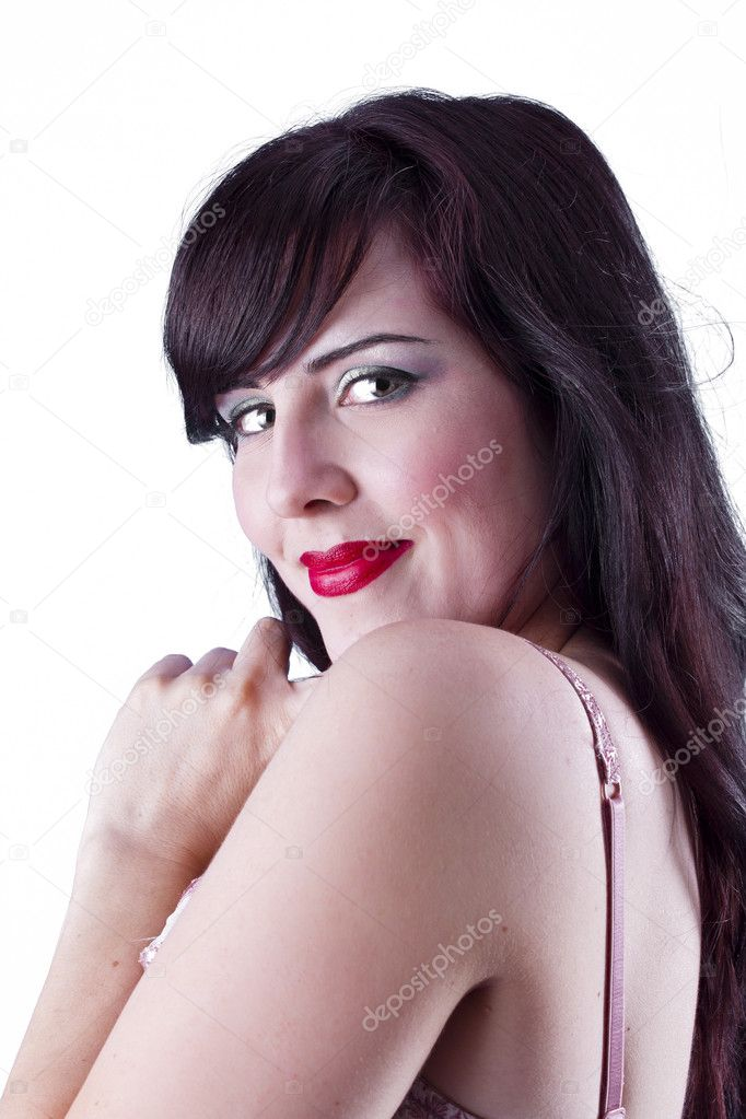 Portrait of young beautiful woman with hand on cheek, isolated — Stock Photo #9477487