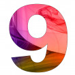9 number with abstract design - Foto Stock