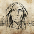 Sketch of American Indian elder — Stock Photo