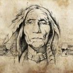 Sketch of American Indian elder — Stock Photo