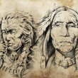 Tattoo sketch of American Indian elders — Stock Photo