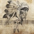 Stock Photo: Tattoo sketch of AmericInditribal chief warriors