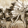 Stock Photo: Tattoo sketch of AmericInditribal chief warrior with skull