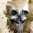 Stock Photo: Tattoo evil design with skull