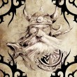Stock Photo: Tattoo art design, viking warrior decorated with tribal artworks