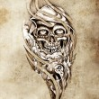 Sketch of tattoo art, monster with eight ball — Stock Photo
