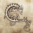 Sketch of tattoo art, decorative dragon — Stock Photo #9745448
