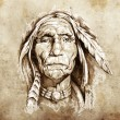 Sketch of tattoo art, portrait of american indian head — Stock Photo #9745453