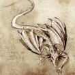 Sketch of tattoo art, modern dragon - Foto de Stock  