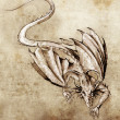 Sketch of tattoo art, modern dragon - Stock fotografie
