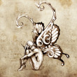 Sketch of tattoo art, fairy with butterfly wings — Stock Photo #9745469