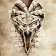 Royalty-Free Stock Photo: Sketch of tattoo art, rock gargoyle mask
