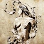 Sketch of tattoo art, nude fairy illustration — Stock Photo
