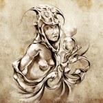 Sketch of tattoo art, nude fairy woman — Stock Photo