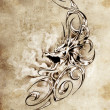 Stock Photo: Sketch of tatto art, decorative medieval dragon