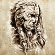 Sketch of tattoo art, Portrait of american indian chief in natio — Stock Photo
