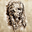 Sketch of tattoo art, Portrait of american indian chief in natio — Stock Photo #9745533