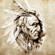 Sketch of tattoo art, American Indian Chief illustration — Stock Photo #9745536