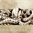 Stock Photo: Sketch of tatto art, octopus illustration